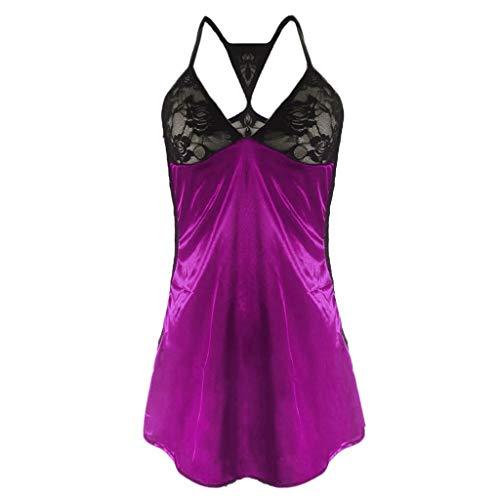 Pyjama Set Damen Nachtwäsche,Kurz Schlafanzug mit Shorts, Valentinstag Nachtwäsche Set Zweiteilige Nachthemd Sexy Kleider für Frauen Spitzen Unterwäsche Kostüm Minirock Sleepwear (Lila,M)