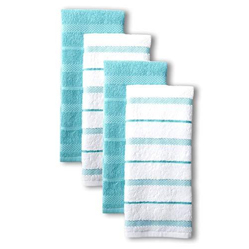 KitchenAid Albany Kitchen Towel Set, Set of 4, Aqua 4 Count