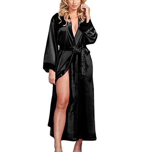Femme Sexy Longue Robe Chemise de Nuit en Soie Kimono Peignoir Robe Nuisette Dentelle Lingerie Bain Vêtements de Nuit (Noir)