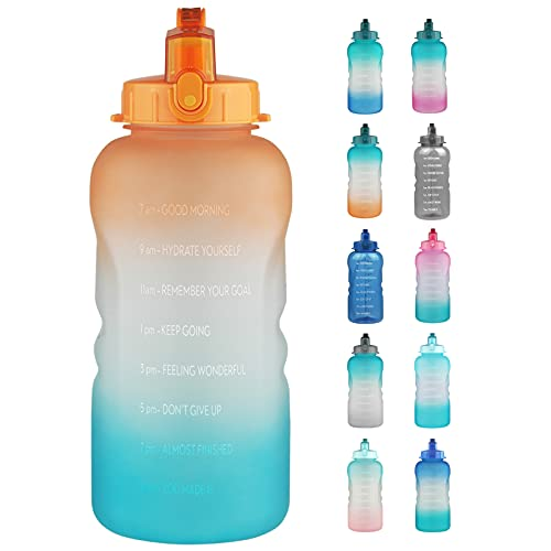 Reeho 3.8 L Botella Agua Deporte, Botella Plastica Tritan Reutilizable 1 Galón, Botella Agua Gimnasio con Marcador de Tiempo para Athletic, sin BPA