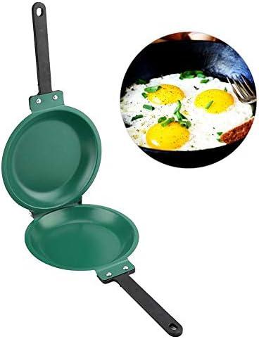 ZJchao Frying Pan Double Side Frying Pan Non Stick Flip Folding Frying Pan Green product image