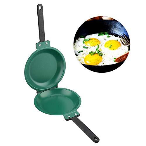 ZJchao Frying Pan, Double Side Frying Pan Non-Stick Flip Folding Frying Pan (Green)