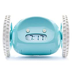 Clocky Alarm Clock on Wheels (Original) | Extra Loud for Heavy Sleeper (Adult or Kid Bed-Room Robot Clockie) Funny, Rolling, Run-away, Moving, Jumping (Blue)