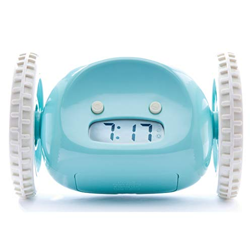 Clocky Alarm Clock on Wheels (Original)   Extra Loud for Heavy Sleeper (Adult or Kid Bed-Room Robot Clockie) Funny, Rolling, Run-Away, Moving, Jumping (Blue)