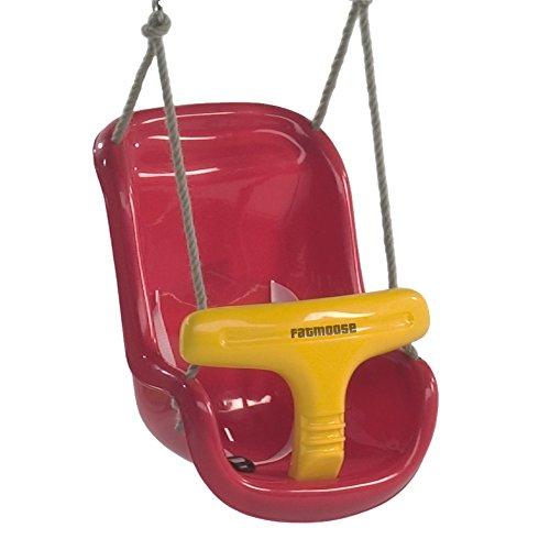 FATMOOSE Babyschaukel PrimeCruiser Babysitz Kleinkindschaukel mit separatem T-Stück und Sicherheitsgurt, rot-gelb