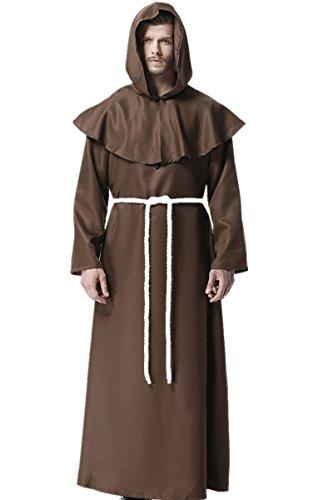 Mönch Mittelalterlich Mit Kapuze Mönch Renaissance Priester Robe Kostüm Cosplay, Braun, L