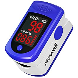 Nicwell Fingertip Pulse Oximeter,SpO2 Pulse Oximeter with Accurate Fast Reading and Large LED Display,Finger-Clamps…