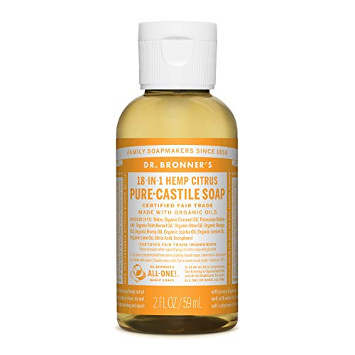 Dr. Bronner's - Pure-Castile Liquid Soap (Citrus, 2 ounce) - Made with Organic Oils, 18-in-1 Uses: Face, Body, Hair, Laundry, Pets and Dishes, Concentrated, Vegan, Non-GMO