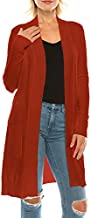 Womens Basic Simple Cozy Soft Stretch Long Sleeve Open Front Sweater Knit Cardigan-Rust,Large
