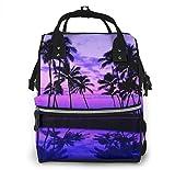nbvncvbnbv Bolsa de pañales Purple Sky Coconut Tree Mochila de viaje portátil multifuncional Bolsitas de pañales para el cuidado del bebé Resistente al agua Gran capacidad Elegante Duradero