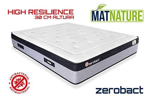 Matnature | Colchón Antibacterial Modelo Zerobact | Altura 30 cm | Colchón Viscoelástico | Colchón High Resilience | Gran Confort | Todas Las Medidas