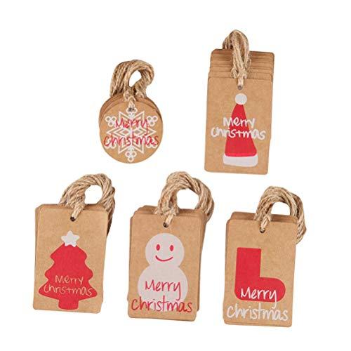 Amosfun 50 stücke Entzückende Kraftpapier Hängen Vintage Weihnachten Hängen Anhänger Haushalt Weihnachten Hängen Tags für Party (5 Stil 10 stücke für Jedes)