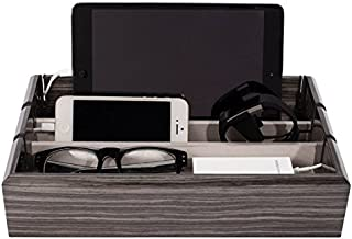 OYOBox Tech Tray Luxury Personal Electronics Organizer، Designer Lacquered Stand Stand Store Store and Charges multiple Devices شامل: تبلت ، iPhone iPad و ساعت های هوشمند ، Zebra Grey