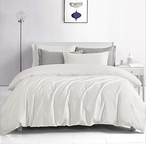 DUIPENGFEI Satin Long-Staple Cotton Pure Color Four-Piece Cotton Full Set, Bedding Duvet Cover, White,Double Size Duvet Cover 200 * 230Cm