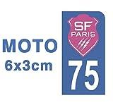Générique Autocollant Stickers Plaque immatriculation Scooter Moto 75 SF Stade Français Paris Rugby Bleu Foot