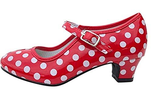 Costumizate! Zapatos de Baile Flamenco con Diferentes Tallas Desde niña a Mujer. Precioso Color Rojo con Lunares Blancos Talla 20