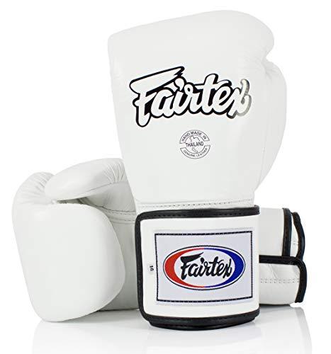 Fairtex Boxing Gloves BGV5 - Super Sparring Gloves, Black/White Color. Size: 12 14 16 oz. Sparring Gloves for Kick Boxing, Muay Thai, MMA (White, 12 oz)