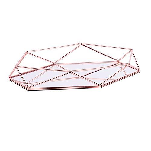 Fabseller Metall-Tablett mit verspiegelten Verzierungen, dekoratives Tablett in Roségold, luxuriös, dreidimensionales Ablagefach, sechseckig, für den Schreibtisch, nordischer Stil, schlicht rose gold