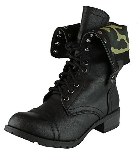 Cambridge Select Women's Fold-Over Cuff Lace-Up Chunky Stacked Heel Combat Boot