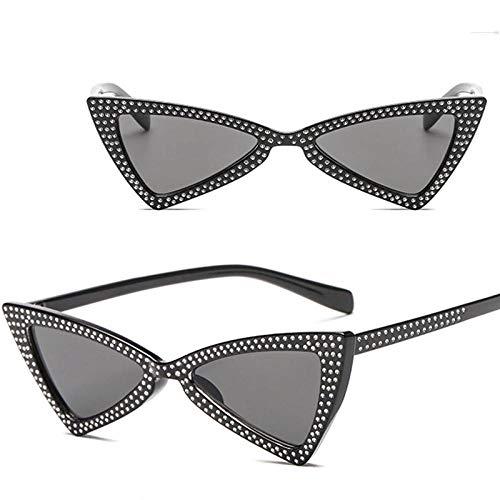 Occhiali da Sole Sunglasses Moda Triangle Occhiali da Sole Donna Crystal Ocean Lens Occhiali Vintage Classici OutdoorUv400 Blackgray