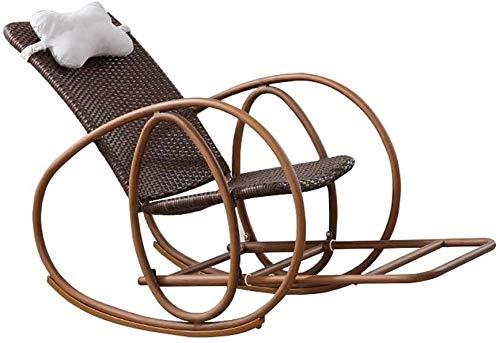 Aoyo - Silla mecedora para adultos mayores | Sillón de mimbre | Silla de balcón | Silla de jardín para adultos con reposacabezas y pedal telescópico, carga 200 kg