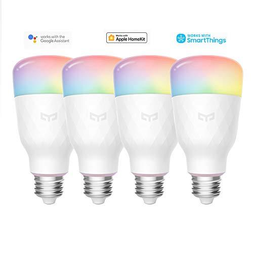 Bombilla Wifi Yeelight 16 millones de colores E27 8.5W RGB regulable 800lm Luz blanca Aplicación inteligente para el hogar Control remoto (4-Pack)