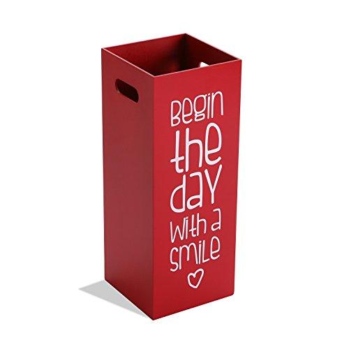 Versa Fluor Paragüero para la Entrada, Habitación o Hall, Porta paraguas moderno, Medidas (Al x L x An) 53 x 21 x 21 cm, Madera MDF, Color Rojo