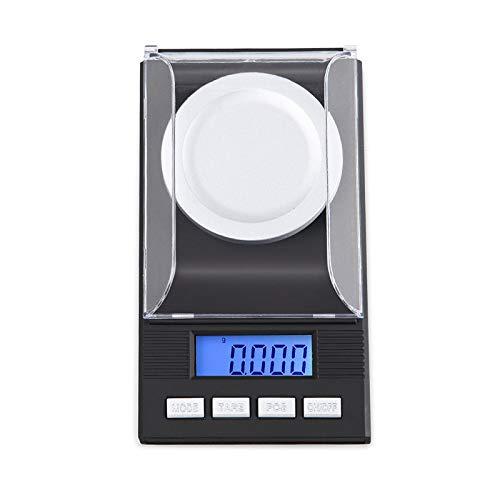 DCJLH Báscula de Cocina Escala de miligramos Digital de Gran precisión, 20 X 0,001 g Escala de la joyería de Recarga con el Caso, Pinzas, calibración de Peso y Plato de pesaje, tamaño de Bolsillo