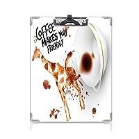 クリップボード A4サイズ対応 レンジップボード コーヒーアート 作業用ペーパーホルダー (2個)発信と社交的なインスピレーションホットドリンクフレンドリーキリンフィギュアブラウンオレンジブラック