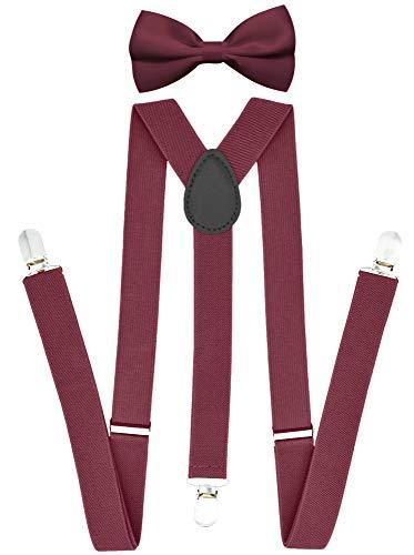 Trilece Suspenders and Bow tie Set for Men Women Boys Adults - Adjustable Elastic Y Back Style Suspender Bowties - Burgundy Set