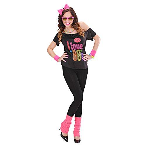 Amakando 80er Jahre Outfit Madonna Kostüm Popstar Faschingskostüm 80s Disco Karnevalskostüm Nena Retro Verkleidung Mottoparty Aerobic Tanzkostüm