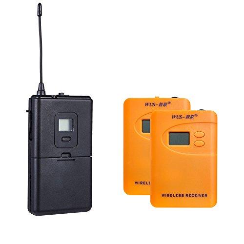 ZLWUS 800R Wireless Tour Guide System, UHF794~806MHz Digital AudioGuias y AudioGuías (1pc Transmisor + 2pc Auricular) para Enseñanza Visiting and Conferencia(Orange)