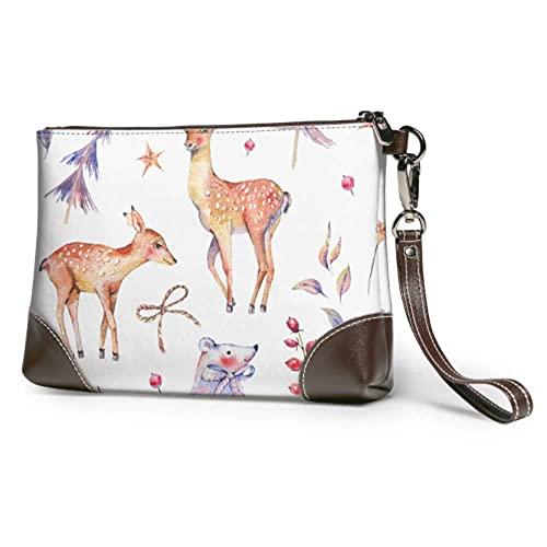 Yaxinduobao Bolso de mano suave impermeable de cuero ciervo mamá y ciervo bebé bolso de mano de cuero con cremallera para mujeres niñas