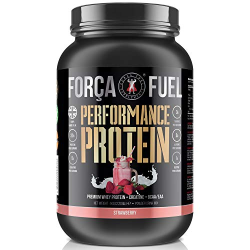 30g Whey Protein | 5g Creatine Monohydrate | EAA | BCAA | Build Muscle | Lose Fat | Improve Performance | Speed Up Recovery | Enhance Muscle Protein Synthesis | Força Fuel (Strawberry)
