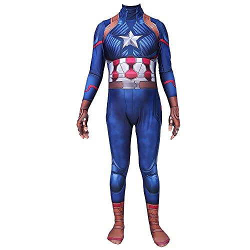 Xyh723 Niños Capitán América Disfraz De Halloween Cosplay Fancy Dress Trajes Superhéroe Movie Body Papel De Adulto Juego De Play Posters Regalo De Cumpleaños,Women/XL(165~170CM)-Blue