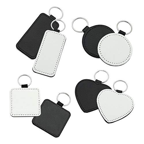S-TROUBLE 10 Stück Leder Schlüsselanhänger Leeres Herz Rundes Quadrat MDF Schlüsselanhänger Sublimation Wärmeübertragung Schlüsselanhänger Kit Schmuckherstellung
