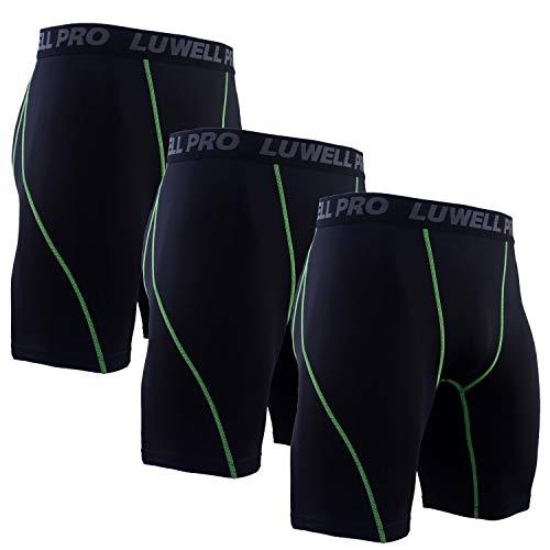 LUWELL PRO 3er Pack Herren Kompressionsshorts, Schnelltrocknendes Baselayer Unterhose Strumpfhose Kurze Hose Laufunterwäsche für Workout,Laufsport,Fitness(1126-Black-XL)