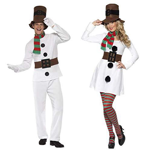 Disfraz de muñeco de nieve Parejas Señoras Hombre Muñeco de nieve Disfraz de Cosplay Disfraz de pareja de Navidad Muñeco de nieve Disfraces Navidad Disfraces Trajes para Navidad Escenario Disfraz,C