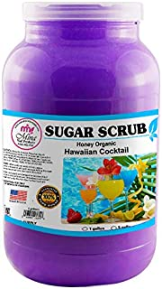 Mina Organic Sugar Scrub, Hawaiian Cocktail (1 Gallon) -Ultra Hydrating & Exfoliating Body, Foot & Facial Scrub for Nourishing Essential Body Care, Professional Spa Supply