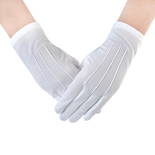 JISEN Women Teens Police Formal Tuxedo Honor Guard Parade White Nylon Cotton Gloves 9 Inch 1 Pair