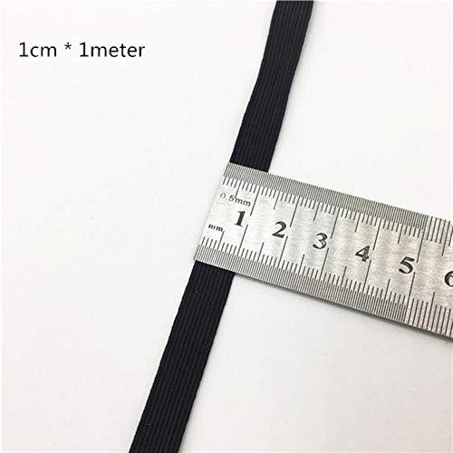 1M Goud Zilver Hoge Elastische Bands 3-60mm Zwart Wit Rubber Band Lijn Spandex Lint Naaien Trim Taille Band Garment Accessoire 10mm Black x 1meter