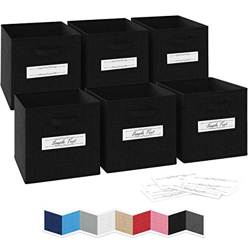 NEATERIZE 13x13x13 Large Storage Cubes - Set of 6 Storage Bins Features Dual Fabric Handles  Cube Storage Bins  Foldable Closet Organizers and Storage  Fabric Storage Box for Home Office Black