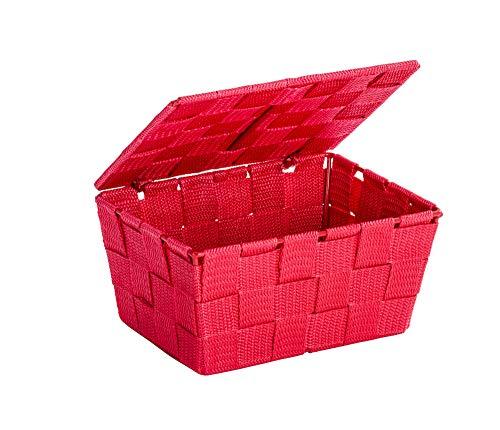 WENKO Aufbewahrungskorb mit Deckel Adria Rot Füllkörbchen Wäschebox Ablage