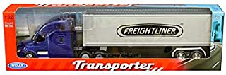 New DIECAST Toys CAR Welly 1:32 W/B - Transporter - Freightliner Cascadia with Container (Blue) 32696W-BL