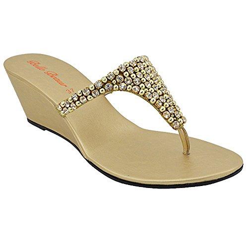 ESSEX GLAM Sandalo Donna Oro Infradito Scintillante Elegante Finto Diamante con Tacco a Cuneo EU 37