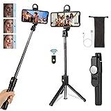 Maxuni Palo Selfie, Palo Selfie Tripode Bluetooth, Selfie Stick con Luz Ajustable y Control Remoto Inalámbrico de Rotación 360°para iPhone 11 Pro MAX XR X 7 8/Samung/Huawei y más