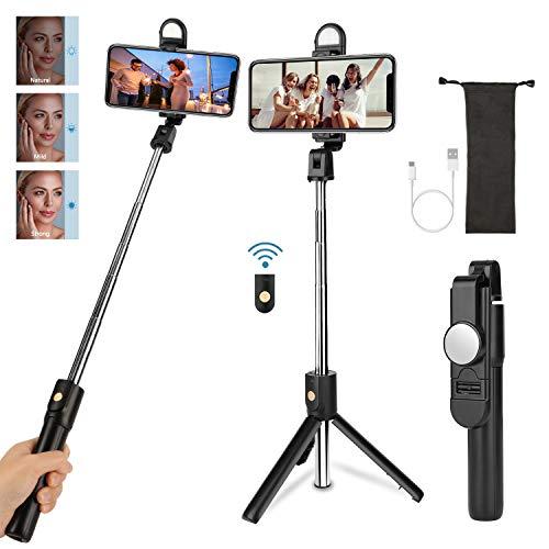 Maxuni Selfie Stick con Telecomando Bluetooth, 360°Estensibile Bastone Selfie Treppiede con Luce di riempimento, Compatibile per 11/XS Max/XR/X/ 8/7, Galaxy S10/ S9/S8, Gopro/Fotocamera