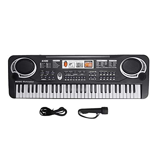 61 Key Piano Keyboard, tragbare elektronische Tastatur Digital Musical Piano Kids Keyboard, mit Mikrofon, USB-Anschluss, Home Teaching Weihnachtsgeschenkspielzeug für Anfänger Erwachsene Kinder