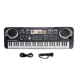 Elektronische Kinderorgel, tragbare Digitale Tastatur 61 Tasten Musikinstrument Musikintelligenzspielzeug mit Mikrofon, USB-Stromkabel, für Kinder