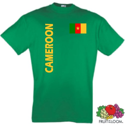 Fruit of the Loom Kamerun Herren T-Shirt Cameroon Trikot Fan Shirt grün|S